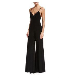 Norma Kamali NEW Slip Wide Leg Black Jumpsuit Med